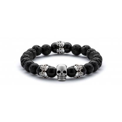Black Onyx & Lava Beaded Bracelet | Sterling Silver Skull Jewelry | Black Gemstones