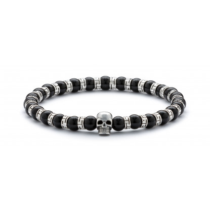 Black Onyx & Silver Beaded Bracelet | Sterling Silver Skull Jewelry | Black & Silver Gemstones