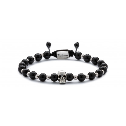Black Onyx & Silver Beaded Bracelet | Sterling Silver Skull Jewelry | Black & Silver Gemstones