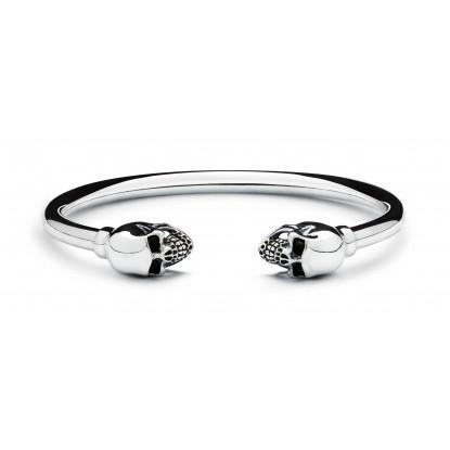 Men's Sterling Silver Skull Bangle Bracelet