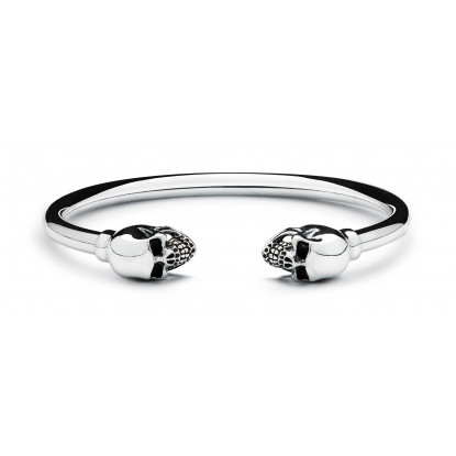 Men's Sterling Silver Skull Bangle Bracelet