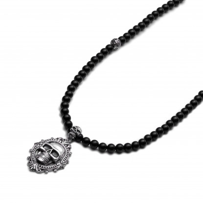 Men's Black Onyx Beaded Necklace | Sterling Silver Skull Pendant
