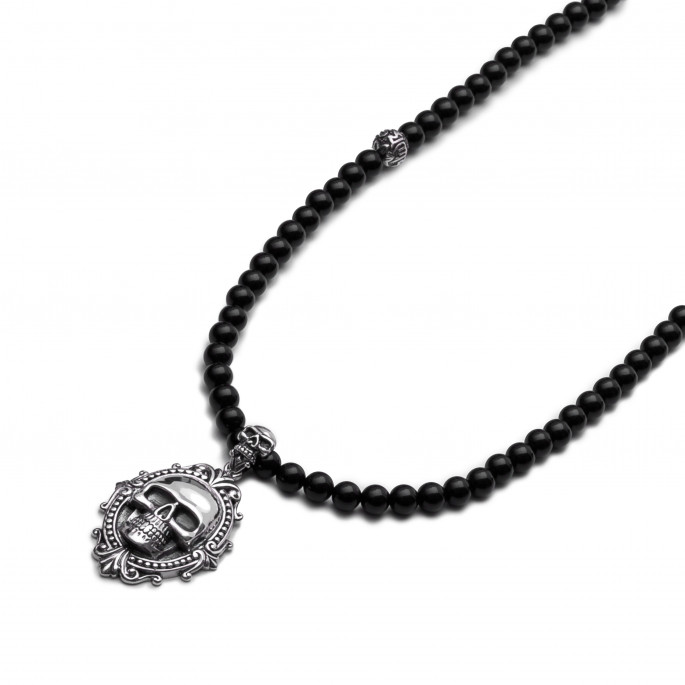 Skull Obsession Black Onyx Necklace