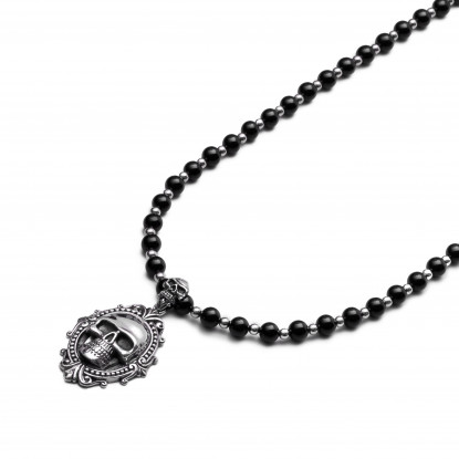 Men's Black Onyx & Silver Beaded Necklace | Sterling Silver Pendant