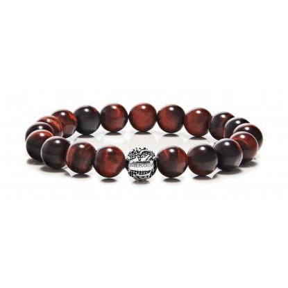 Red Tiger Eye Beaded Bracelet | Sterling Silver Bead | Red Gemstones