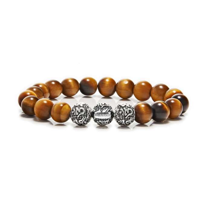 Tiger Eye Beaded Bracelet Triple Sterling Silver Beads Brown Gemstones