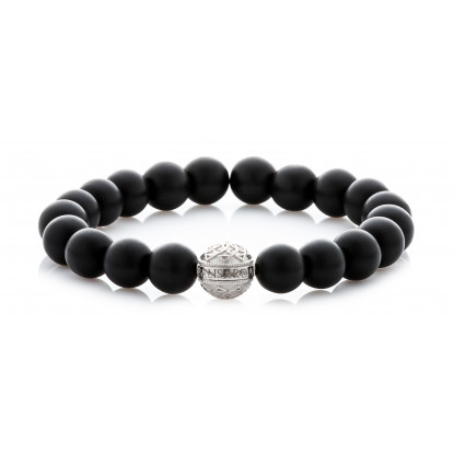 Matte Onyx Beaded Bracelet | Sterling Silver Bead | Matte Black Gemstones