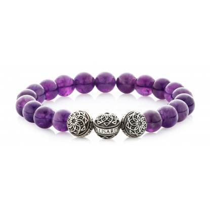Amethyst Beaded Bracelet | Triple Sterling Silver Beads | Purple Gemstones