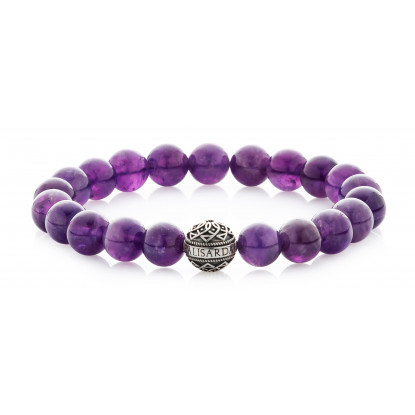 Amethyst Beaded Bracelet | Sterling Silver Bead | Purple Gemstones
