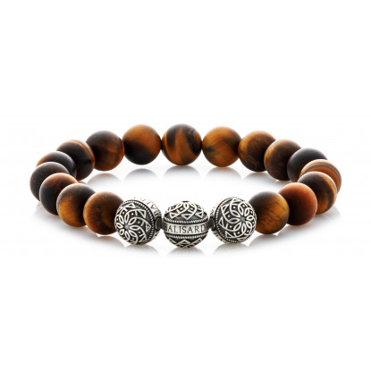 Matte Tiger Eye Beaded Bracelet | Triple Sterling Silver Beads | Brown Gemstones