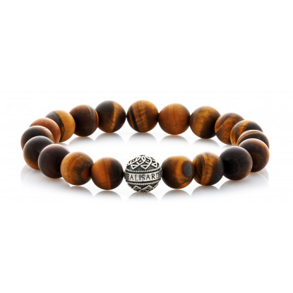 Matte Tiger Eye Beaded Bracelet | Sterling Silver Bead | Brown Gemstones