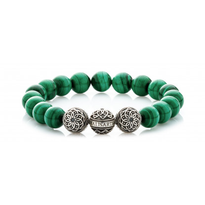 Malachite Beaded Bracelet | Triple Sterling Silver Beads | Green Gemstones