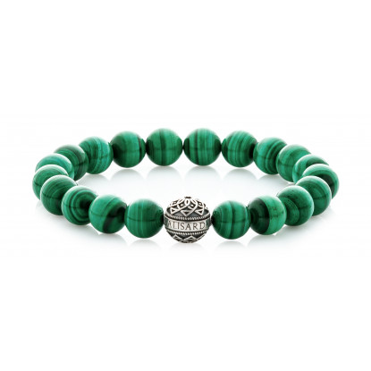 Malachite Beaded Bracelet | Sterling Silver Bead | Green Gemstones