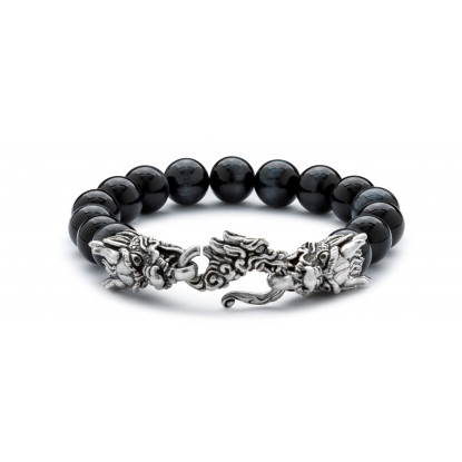 Men's Grey Tiger Eye Beaded Bracelet | Sterling Silver Dragon Lock | Dark Grey Gemstones