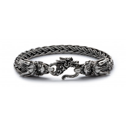 Men's Sterling Silver Dragon Lock Bracelet