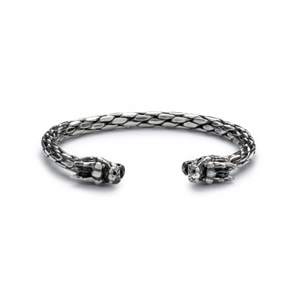 Men's Sterling Silver Dragon Bangle Bracelet
