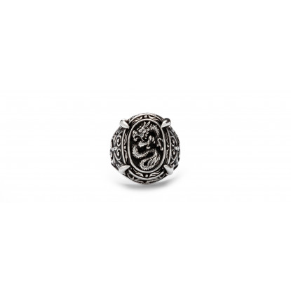 Men's Stamp Dragon Sterling Silver Ring